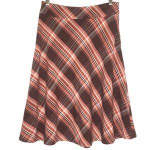 H&M | Peach-Pink/Burgundy-Brown Plaid Circle Skirt